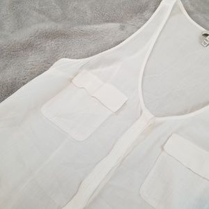 Joie Tops - Joie Button Up Front Pocket Tank White S